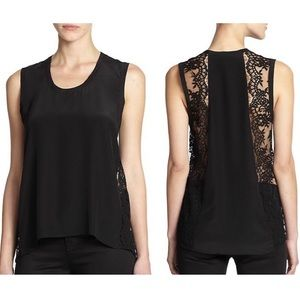 Michelle Mason Sleeveless Lace Inset Silk Top 0 XS